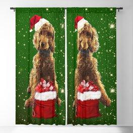 Christmas Dog Golden Doodle Blackout Curtain