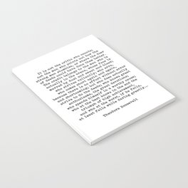 Man In The Arena Theodore Roosevelt Quote Notebook