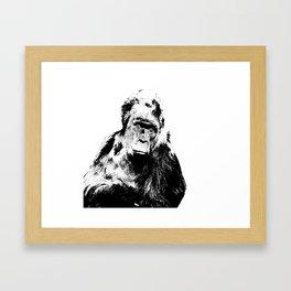 Gorilla In A Pensive Mood Portrait #decor #society6 Framed Art Print