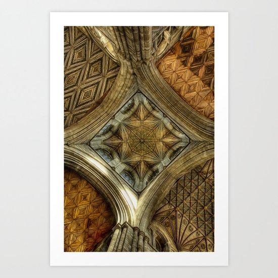 Peterborough Cathedral Roof Art Print