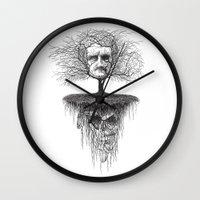 edgar allen poe Wall Clocks featuring Edgar Allan Poe, Poe Tree by Newmanart7 -- JT and Nancy Newman, Art a