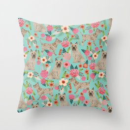 Cairn Terrier florals dog pattern cute dog breed custom gifts for dog lovers Throw Pillow