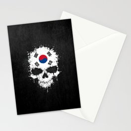 Flag of South Korea on a Chaotic Splatter Skull Stationery Cards