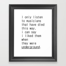 underground music Framed Art Print