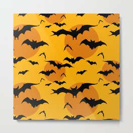 Abstract orange yellow black halloween bats animal pattern Metal Print