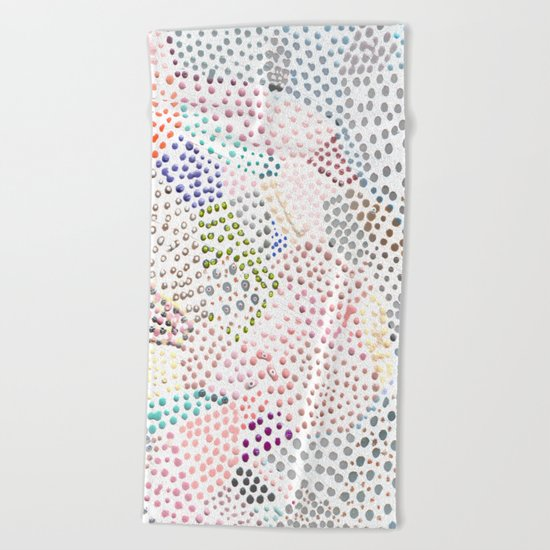 Mermaid Rainbow Dots Colorful Abstract Gems Beach Towel