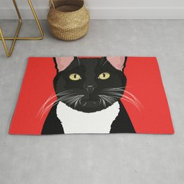Tuxedo Cat Art Poster by Artist A.Ramos. Designed in Bold Colors. Perfect for Pet Lovers Rug