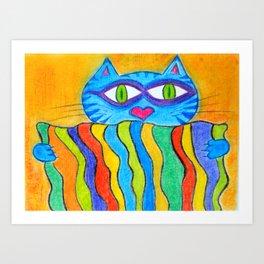 Cat holds a rainbow blanket Art Print