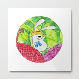 Jungle Hare Metal Print