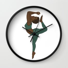 Black Yogi in Kemetic Yoga Pose - Forest Green Workout Wall Clock