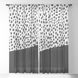 Dalmatian Spots with Black Stripe Sheer Curtain