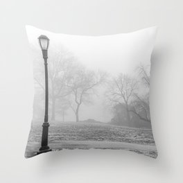 Lamp Post in the fog Throw Pillow