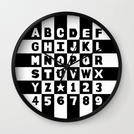 Alphabet Black and White Wall Clock