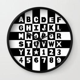Alphabet Black and White Wall Clock