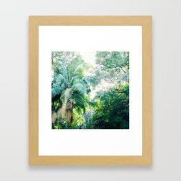 Lost in the jungle bright green tropical palm tree forest photography Framed Art Print