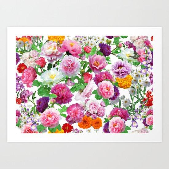 Seamless Nature Flowers Pattern Art Print