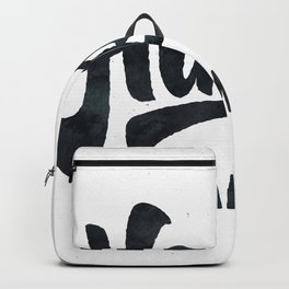HAPPY CAMPER Black and White Retro Backpack