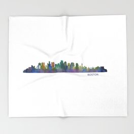 Boston Massachusetts City Skyline Hq V1 Throw Blanket