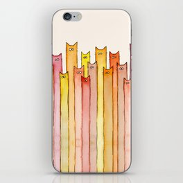 Cats Autumn Colors Pattern Whimsical Cat Orange Red Yellow Animals iPhone Skin