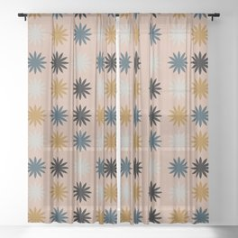 Flower Shapes Pattern Sheer Curtain
