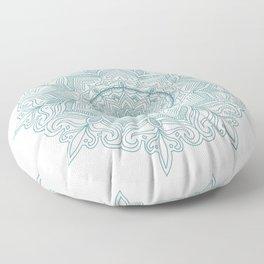 Teal Flower Mandala Floor Pillow