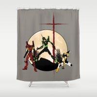 evangelion Shower Curtains featuring Neon Genesis Evangelion - Hill Top by kamonkey