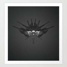 Grey Tech Skull Art Print