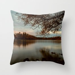 Subdued Sunset on the Sacramento River Throw Pillow