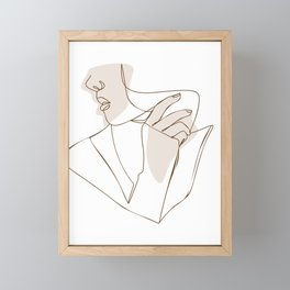 Aesthetic female line art illustration Framed Mini Art Print