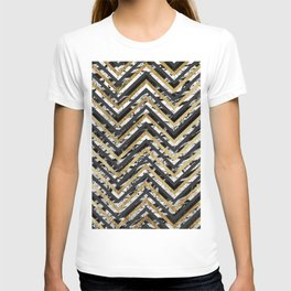 Black and White Marble and Gold Chevron Zigzag T-shirt