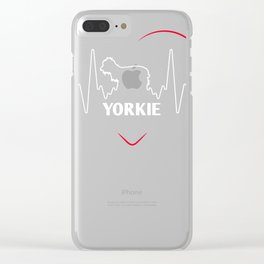 Yorkie Design Yorkie Silhouette Heartbeat Clear iPhone Case