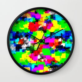 psychedelic geometric square abstract pattern in pink green yellow blue red Wall Clock