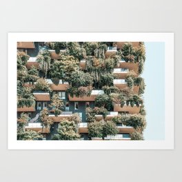 Bosco Verticale, Vertical Forest, Modern Sustainable Architecture, Residential Towers In Milan, Trees, Shrubs, Floral Plants Art Print