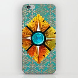 stained glass on turquoise iPhone Skin