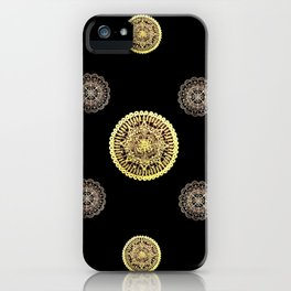 Gold and Rose Gold Mandalas on Black Background Textile iPhone Case