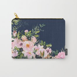 Floral Watercolor, Roses, Navy Blue and Pink, Vintage Art Carry-All Pouch