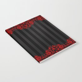 Beautiful Red Damask Lace and Black Stripes Notebook