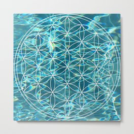 Flower of life in the water Metal Print