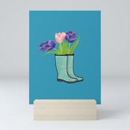 Rain Boots and Purple Tulips With Water Droplet/ Spring Decor Mini Art Print