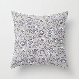 Floral Roma (Warm Gray) Throw Pillow