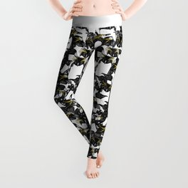 just penguins black white yellow Leggings