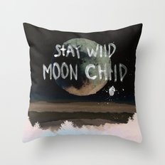 Stay wild moon child (vintage) Throw Pillow