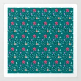 Sea green flowers Art Print