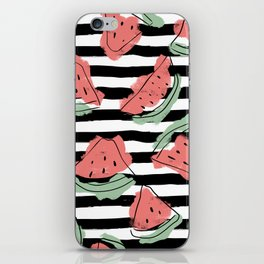 Geometric Artsy Watercolor Coral Mint Black Watermelon iPhone Skin