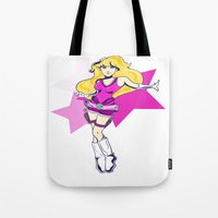 tomb raider Tote Bags featuring Princess Peach Raider by Ashly Picazo