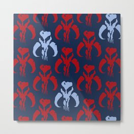 Mythosaur Skulls in Red and Light Blue on Navy Metal Print