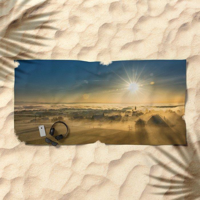 Foggy Plane Beach Towel