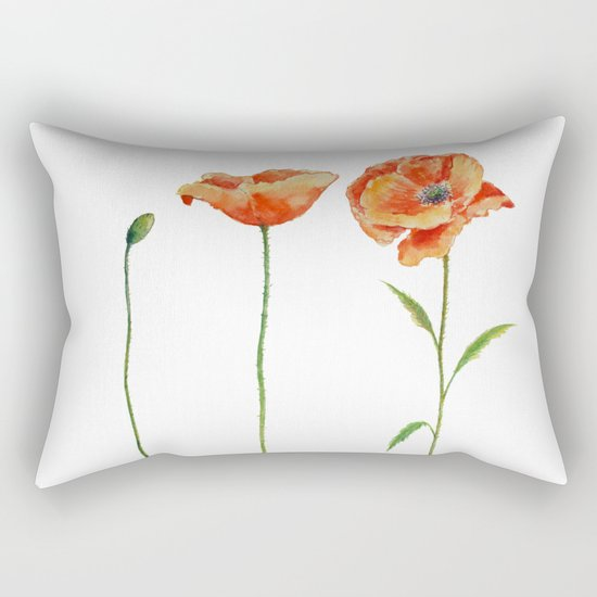 Simply poppy Vintage Watercolor illustration on white background on #Society6 Rectangular Pillow
