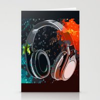 headphones Stationery Cards featuring Headphones by Gift Of Signs
