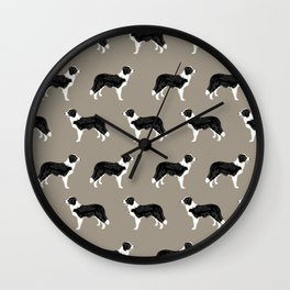 Border Collie dog pattern pet friendly dog art dog lover gifts with favorite dog breeds Wall Clock
